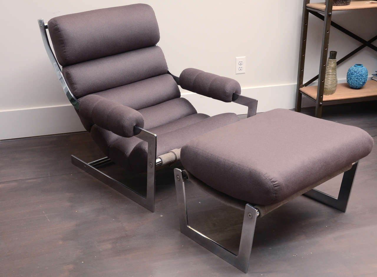Beau Modernist Sling Chair With Flat Bar Chrome Frame. Sling On Both Chair And  Ottoman Is