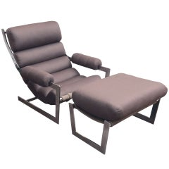 Sling Chair and Ottoman with Chrome Frame