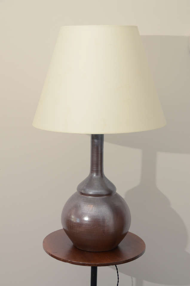 Dark Chestnut Brown glazed ceramic lamp in the shape of a gourd. Newly rewired with for US with black twisted silk cord, bronze colored fittings. Shade is not included in price.
