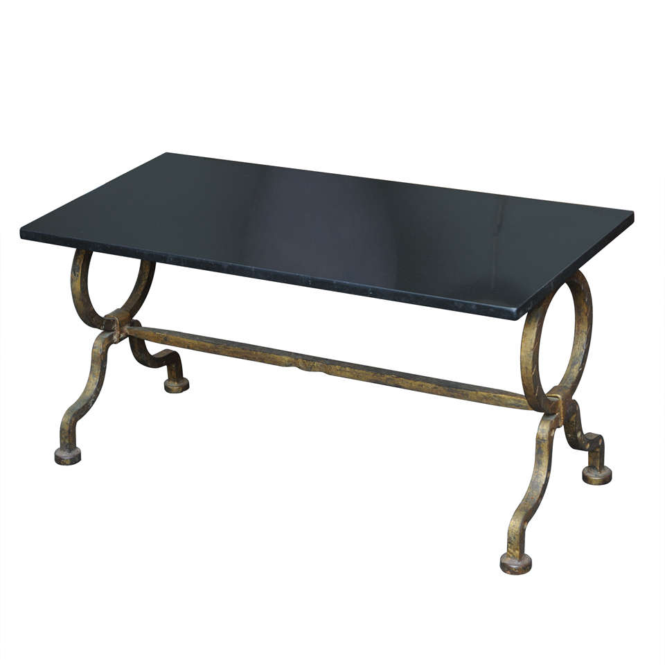 Italian Gilt Iron Granite Top Cocktail Coffee Table At 1stdibs