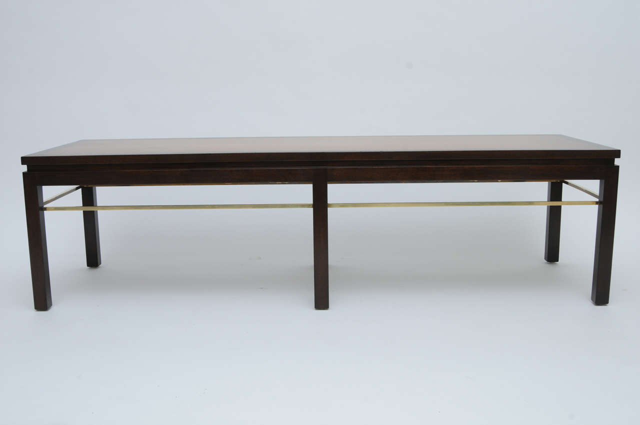 Long Wormley Mahogany And Brass Coffee Table Dunbar At 1stdibs