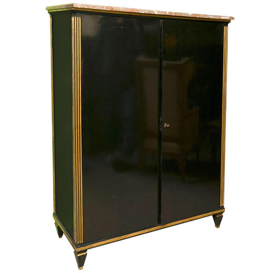 french ebonized dressing cabinet stamped jansen at 1stdibs. Black Bedroom Furniture Sets. Home Design Ideas