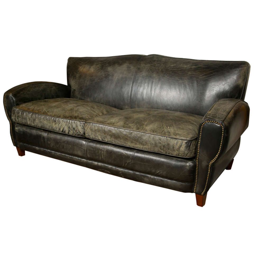 mid century modern art deco style leather sofa at 1stdibs. Black Bedroom Furniture Sets. Home Design Ideas
