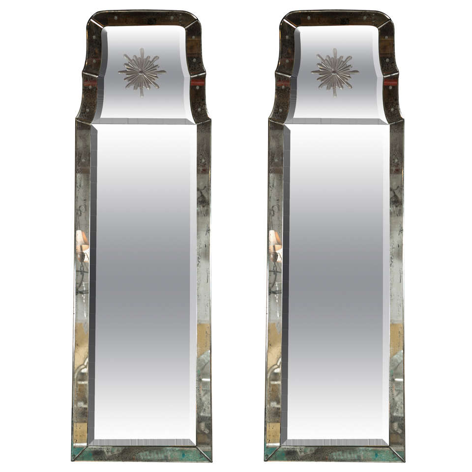 Pair of decorative etched charleston mirrors for sale at 1stdibs - Full length decorative wall mirrors ...