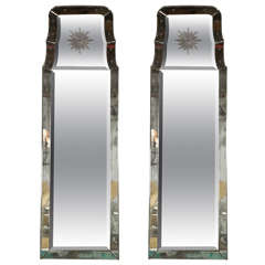 "Pair of Rare Decorative Etched ""Charleston"" Oblong Beveled Glass Mirrors"