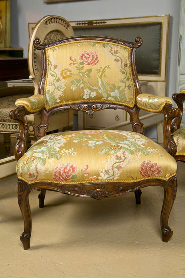 Pair of French Rococo Style Walnut Armchairs image 10
