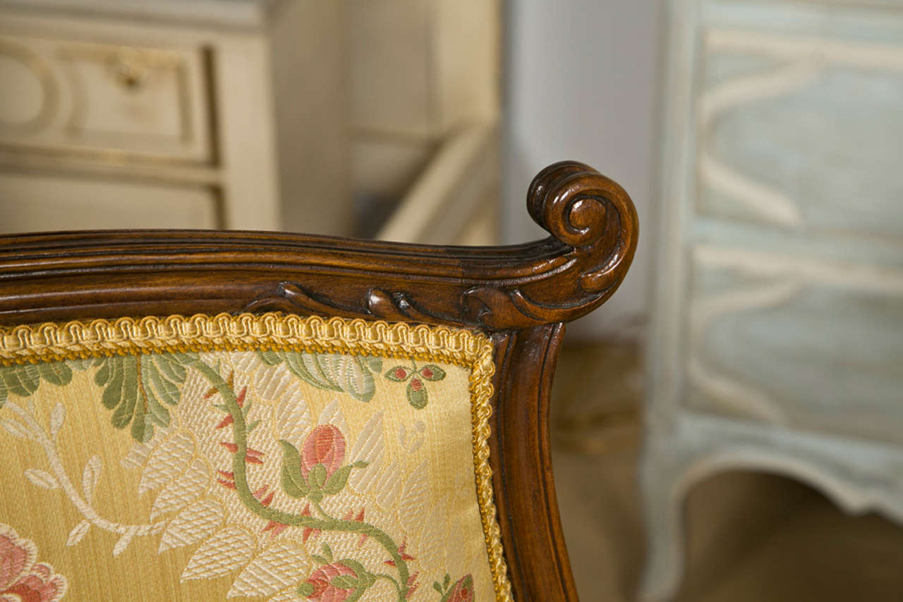 Pair of French Rococo Style Walnut Armchairs image 3
