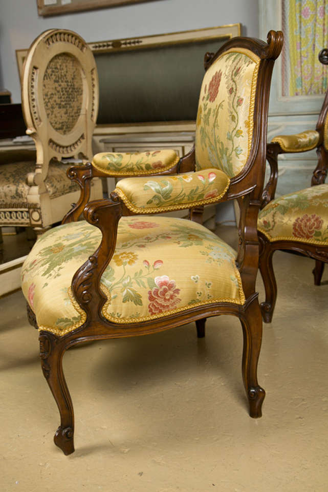 Pair of French Rococo Style Walnut Armchairs image 4