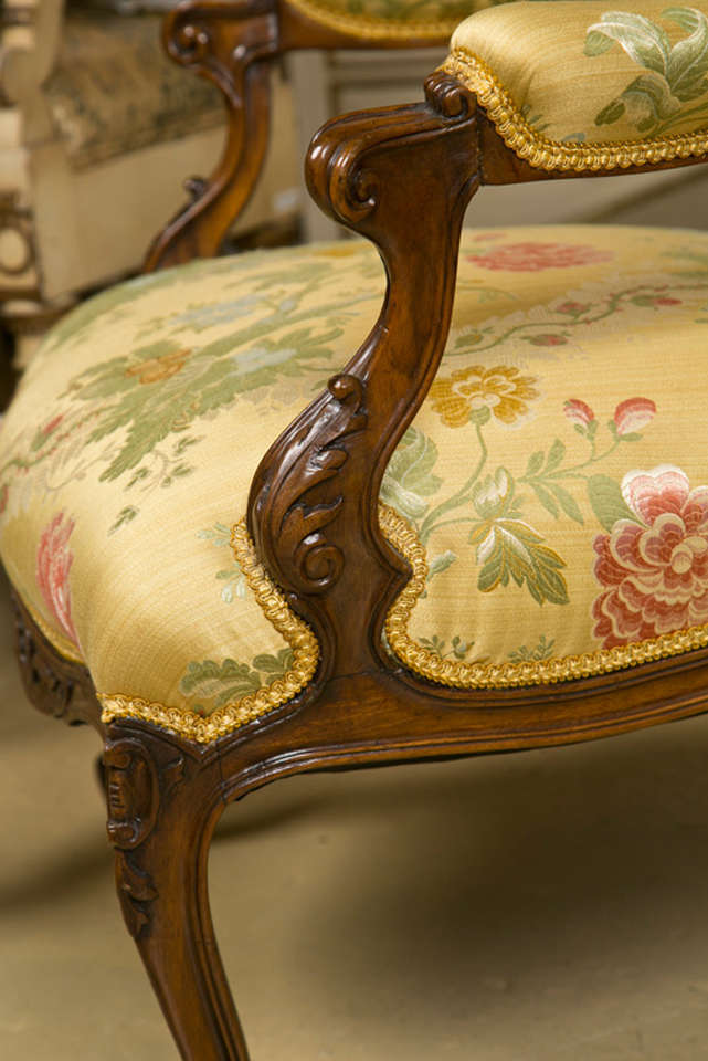Pair of French Rococo Style Walnut Armchairs image 5