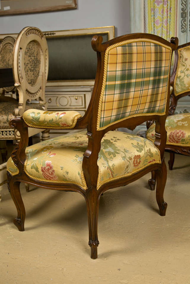 Pair of French Rococo Style Walnut Armchairs image 8