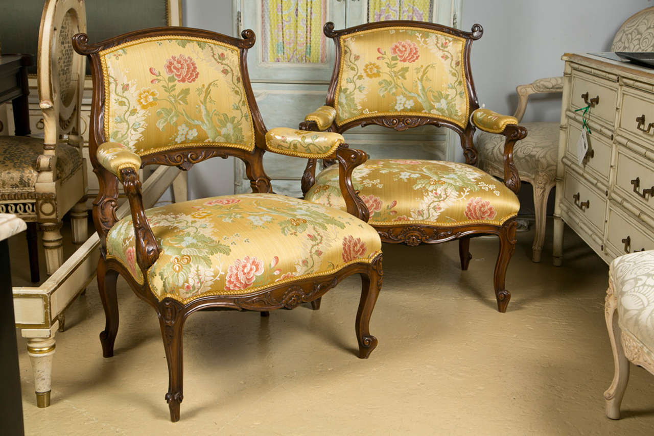 Pair of French Rococo Style Walnut Armchairs image 2