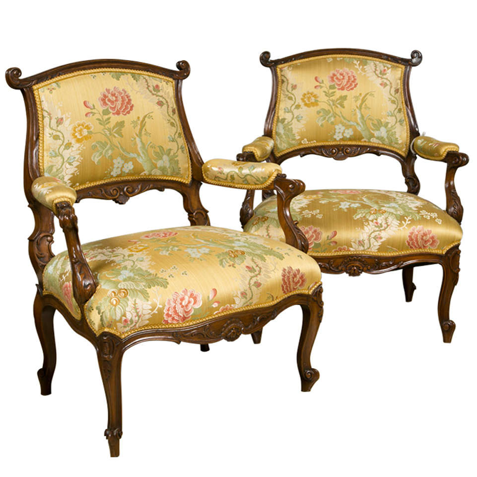 Pair of French Rococo Style Walnut Armchairs