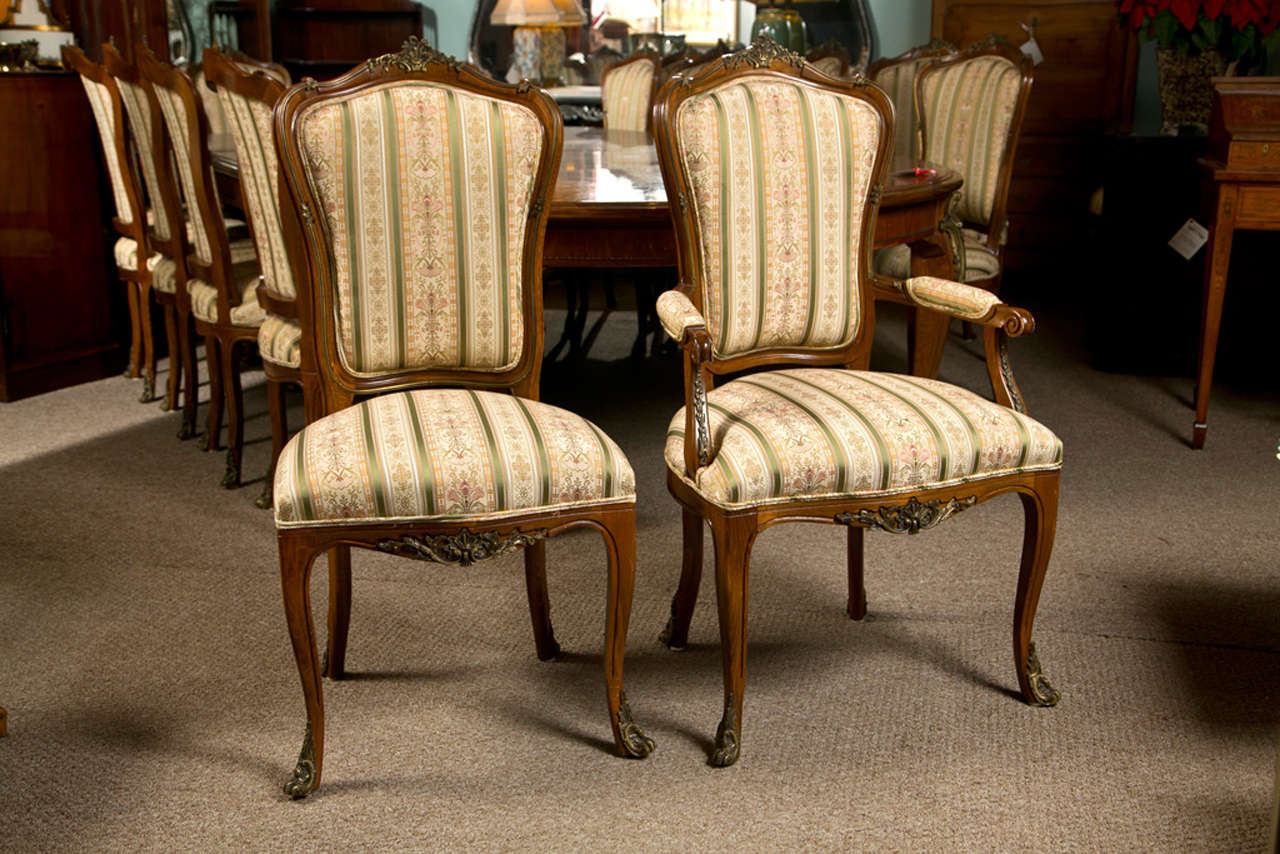 Set of six side french dining room chairs style of linke for French style dining room furniture