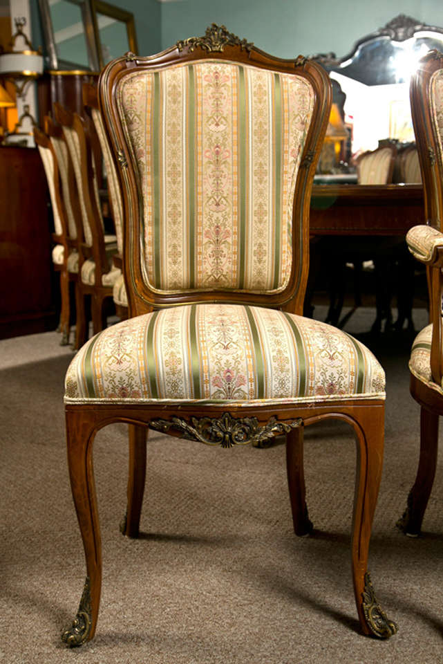 Louis XV Set Of Six Side French Dining Room Chairs Style Linke For Sale