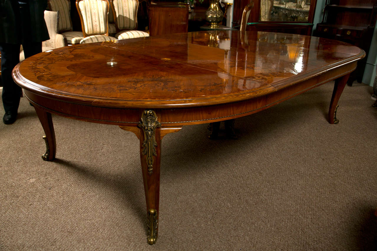 French Louis Xv Style Inlaid Oval Dining Table At 1stdibs