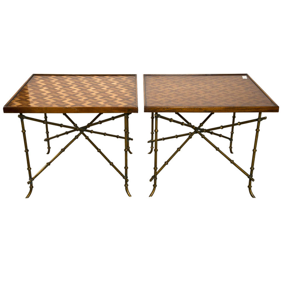 Pair of decorative faux bamboo style side tables at 1stdibs for Bamboo side table