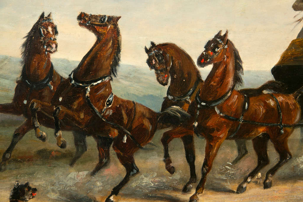American 19th Century Oil on Canvas of Gentlemen on a Horse Pulled Wagon For Sale