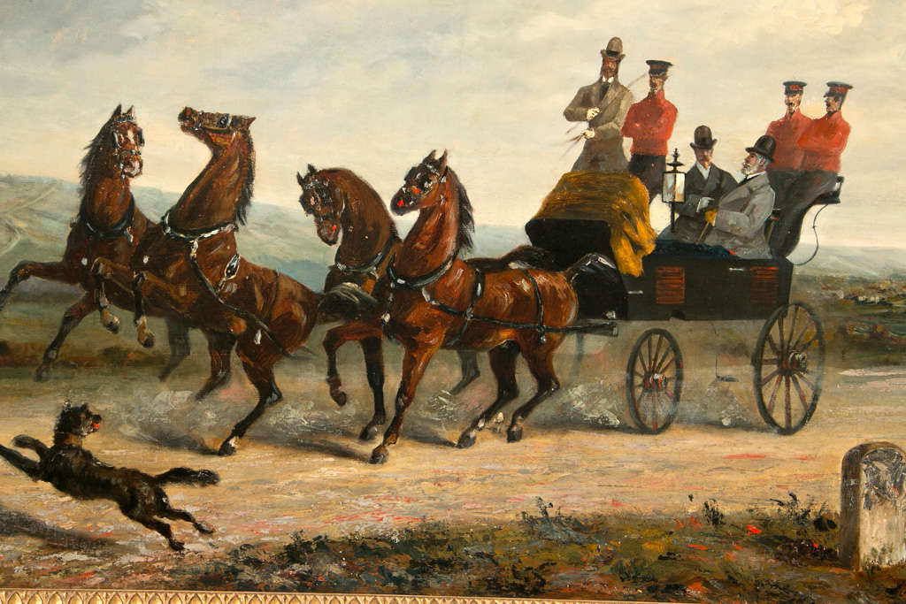 19th Century Oil on Canvas of Gentlemen on a Horse Pulled Wagon In Excellent Condition For Sale In Stamford, CT