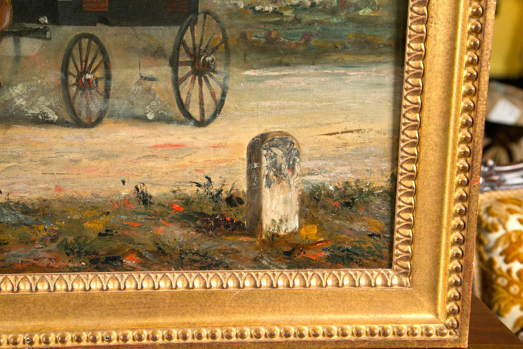 20th Century 19th Century Oil on Canvas of Gentlemen on a Horse Pulled Wagon For Sale
