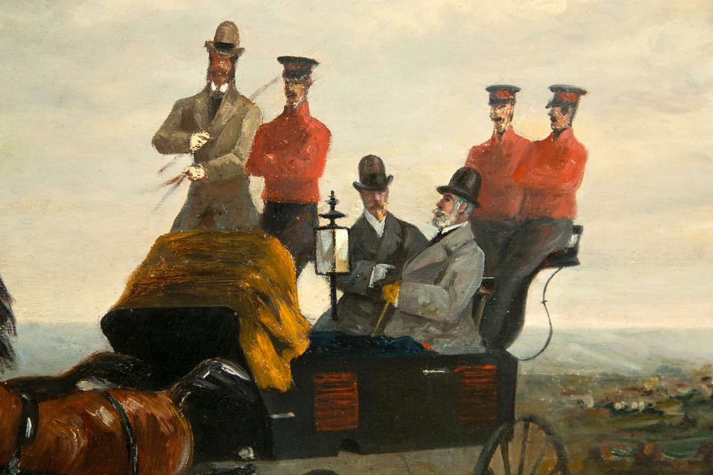 19th Century Oil on Canvas of Gentlemen on a Horse Pulled Wagon For Sale 1