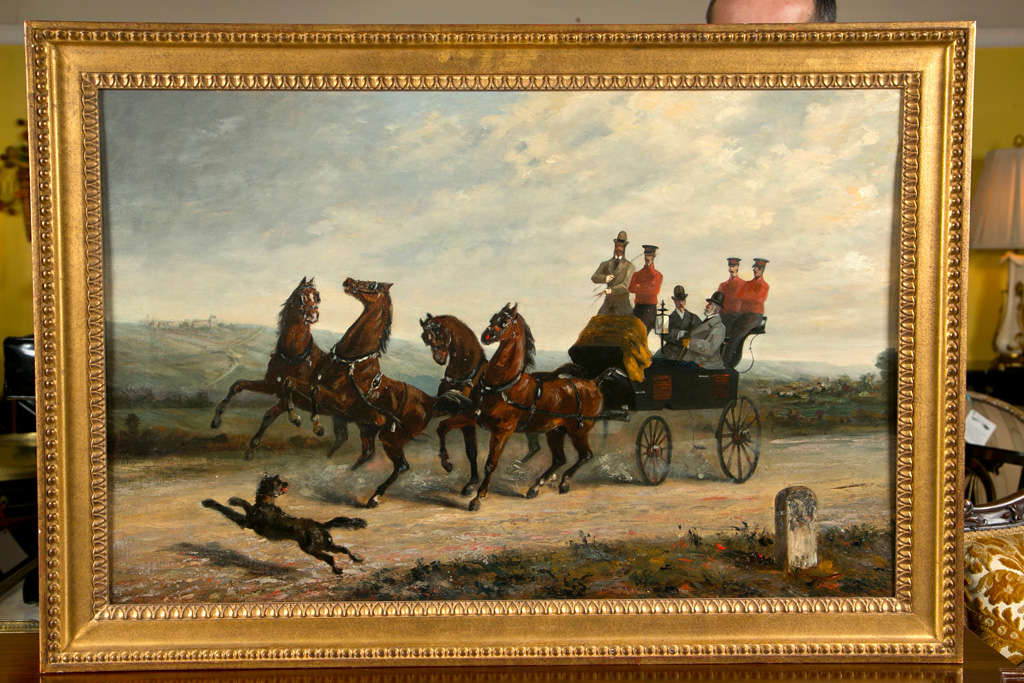 A wonderfully detailed oil on canvas of three British gentleman with their servants. The finely detailed horse drawn wagon disturbed by the playful dog in the lower left of the painting. Indistinguishably signed. In a finely carved gilt gold frame.