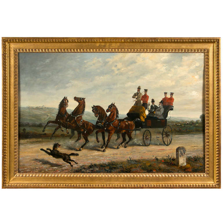 19th Century Oil on Canvas of Gentlemen on a Horse Pulled Wagon For Sale