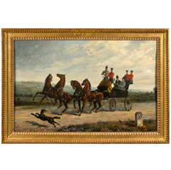19th Century Oil on Canvas of Gentlemen on a Horse Pulled Wagon