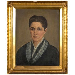 Oil on Canvas 19th C. Denmark Portrait Robed Lady With Gild Gold American Frame