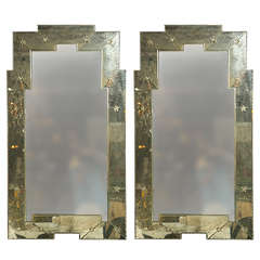 "Pair of ""Art Deco"" Style Distressed Venetian Mirrors"
