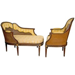 French Louis XIV Style Two-Piece Chaise