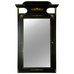 Monumental French Directoire Style Ebonized Mirror Beveled With Brass Accents