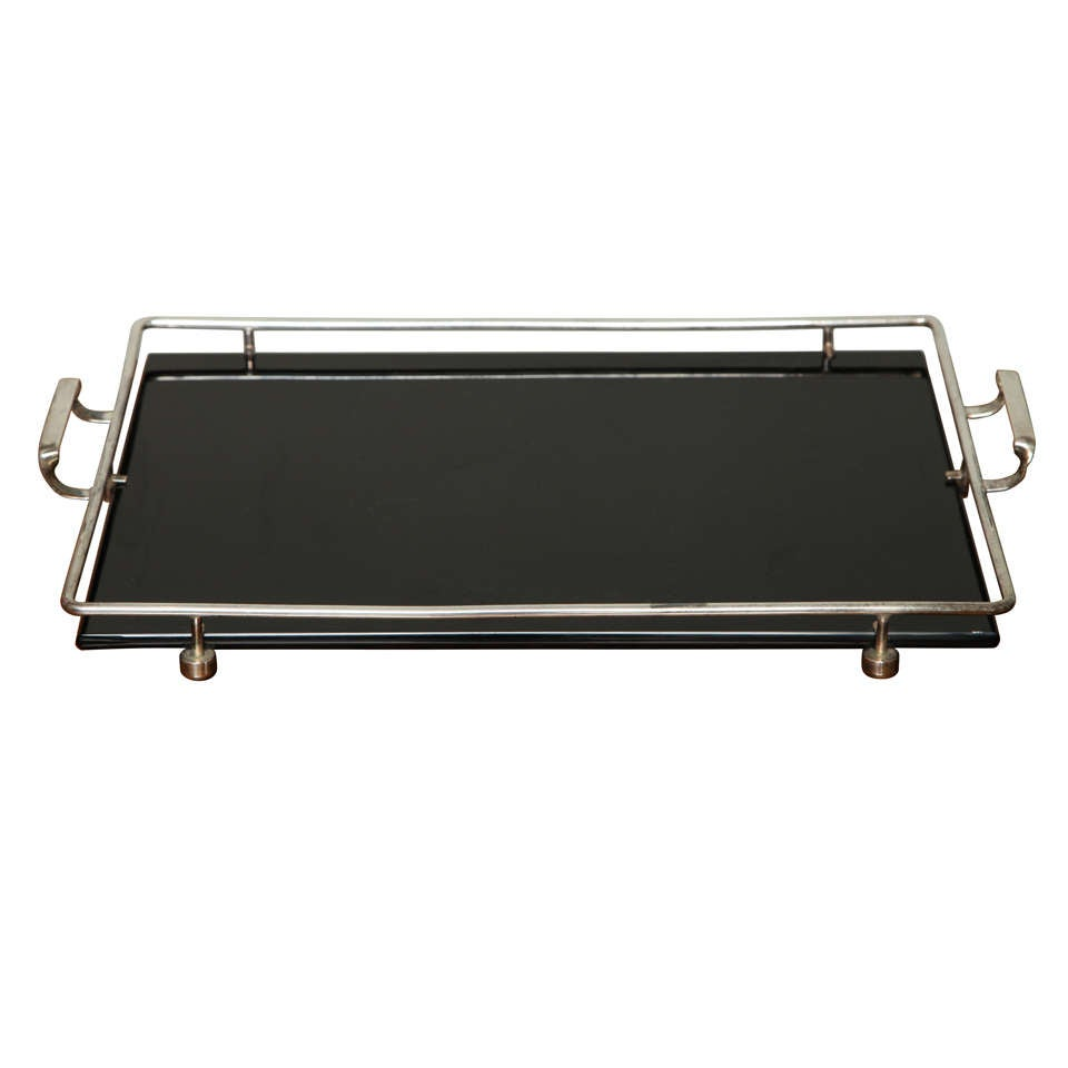 Austrian Silverplate And Black Opaline Bar Tray At 1stdibs