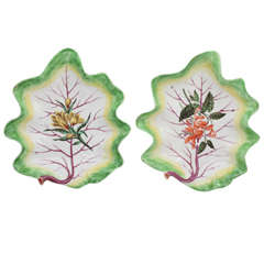 A Rare Pair Of Chelsea Porcelain Leaf Plates