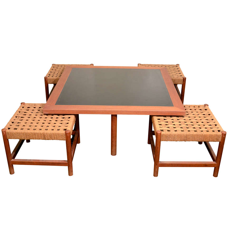 Teakwood Coffee Table With Four Rush Seats By Steven Davies At 1stdibs