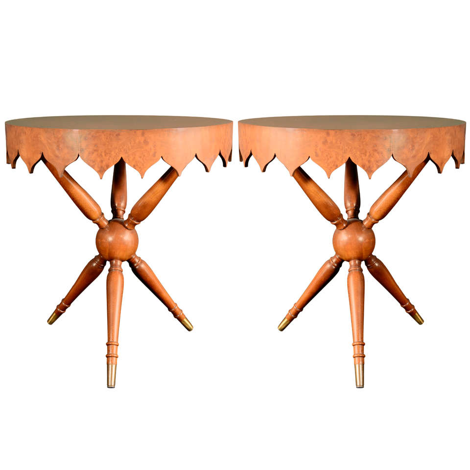 Bird's Eye Maple End Tables With Morrish Design Apron
