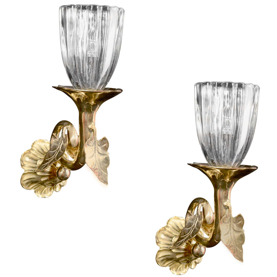 Art Glass Wall Lights: Art Nouveau Brass One Light Sconces With Glass Shades At
