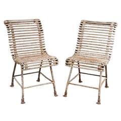 Pair of White Iron Chairs