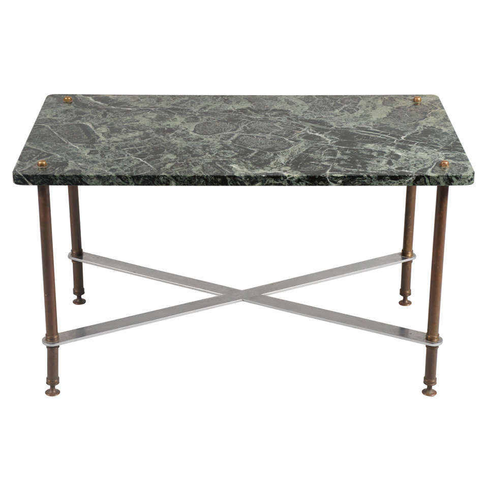 Green Marble-Top Table with Iron Base