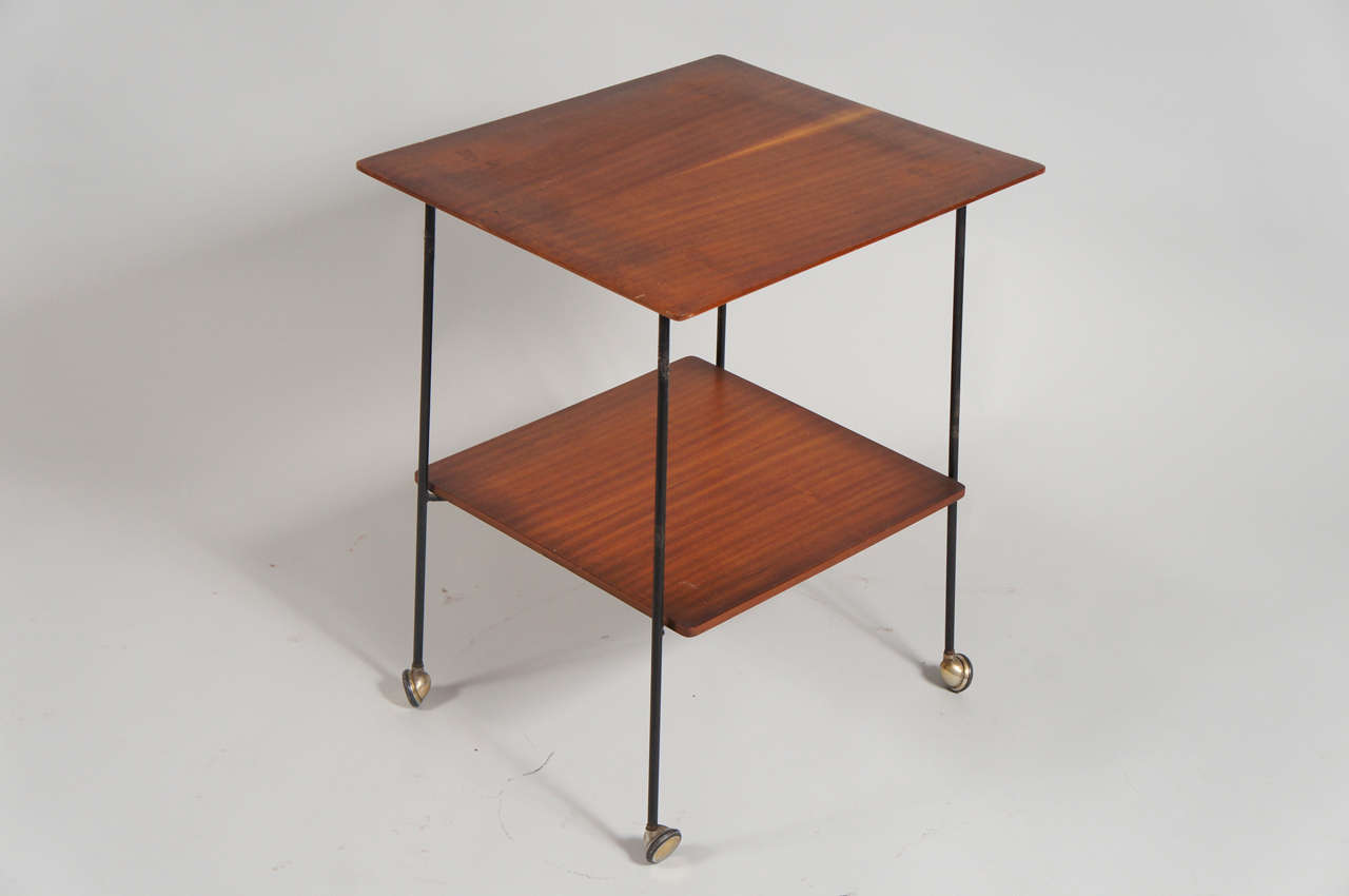 Art Deco Italian Side Table with Wheels For Sale