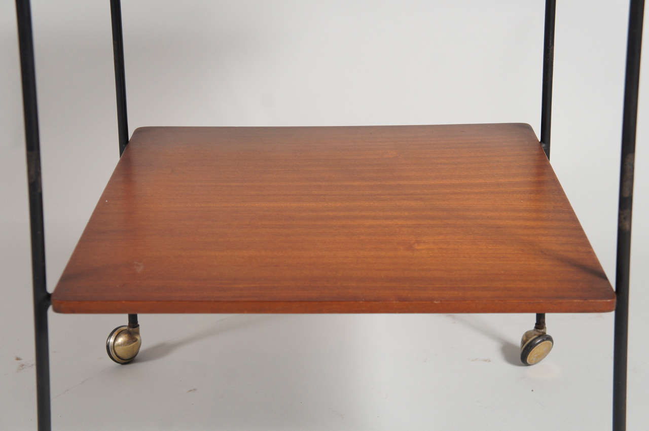 Mid-20th Century Italian Side Table with Wheels For Sale