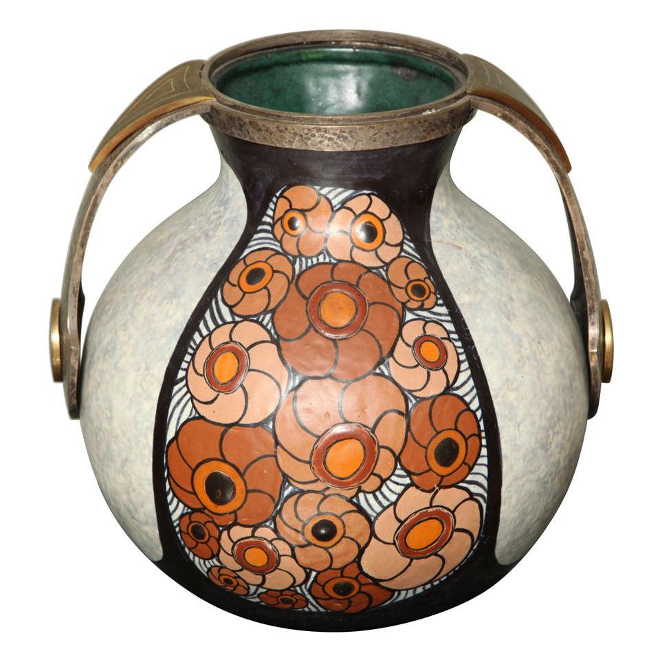 art deco pottery amphora vase by louis dage at 1stdibs. Black Bedroom Furniture Sets. Home Design Ideas