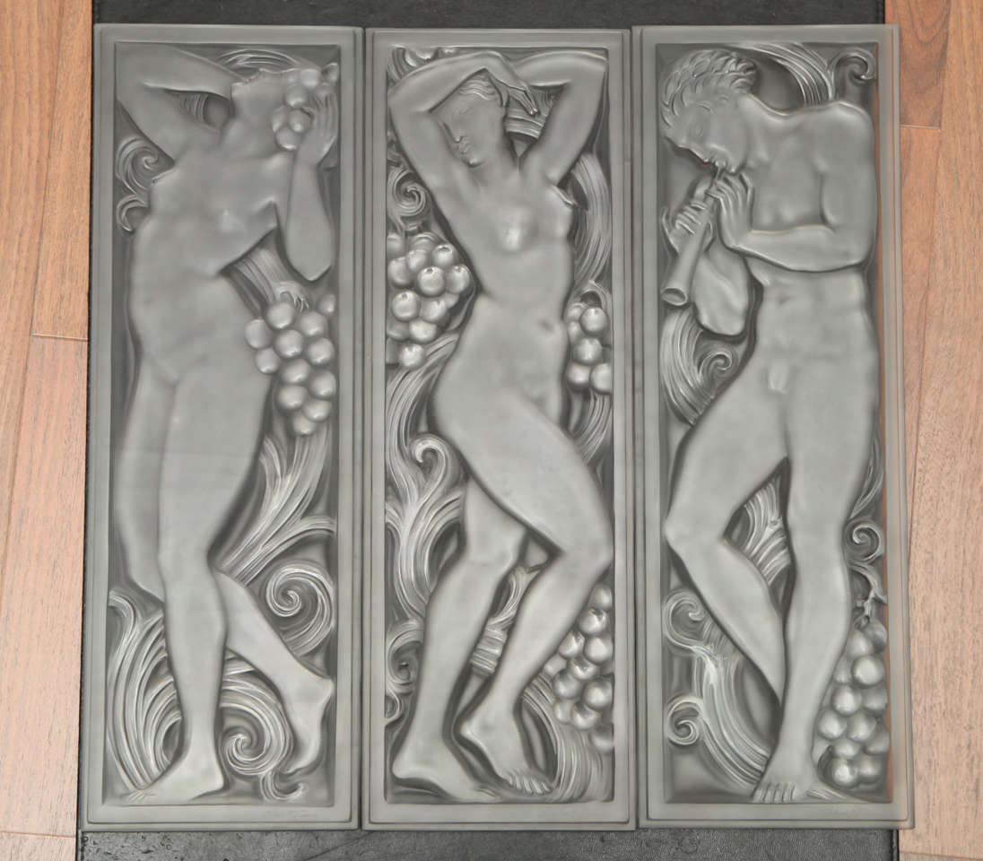 Art deco architectural glass panels by lalique at 1stdibs for Architectural glass art