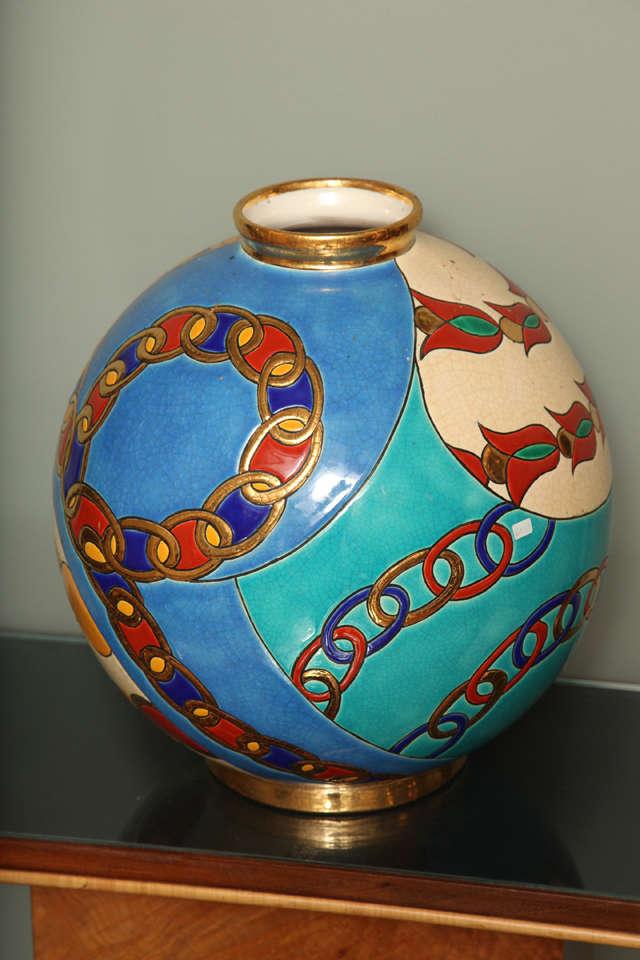 longwy enamelled grand boule vase at 1stdibs. Black Bedroom Furniture Sets. Home Design Ideas