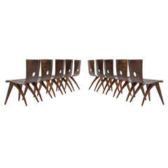 Large Set of Rare Van Os Bend Plywood Chairs