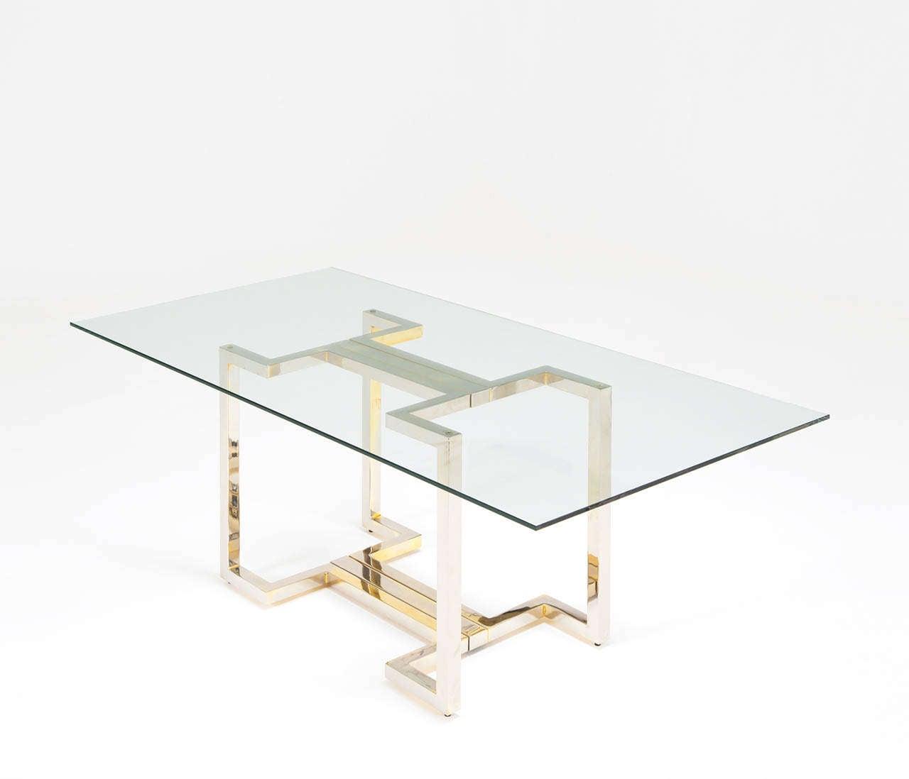 sculptural brass and chrome table base for sale at 1stdibs. Black Bedroom Furniture Sets. Home Design Ideas