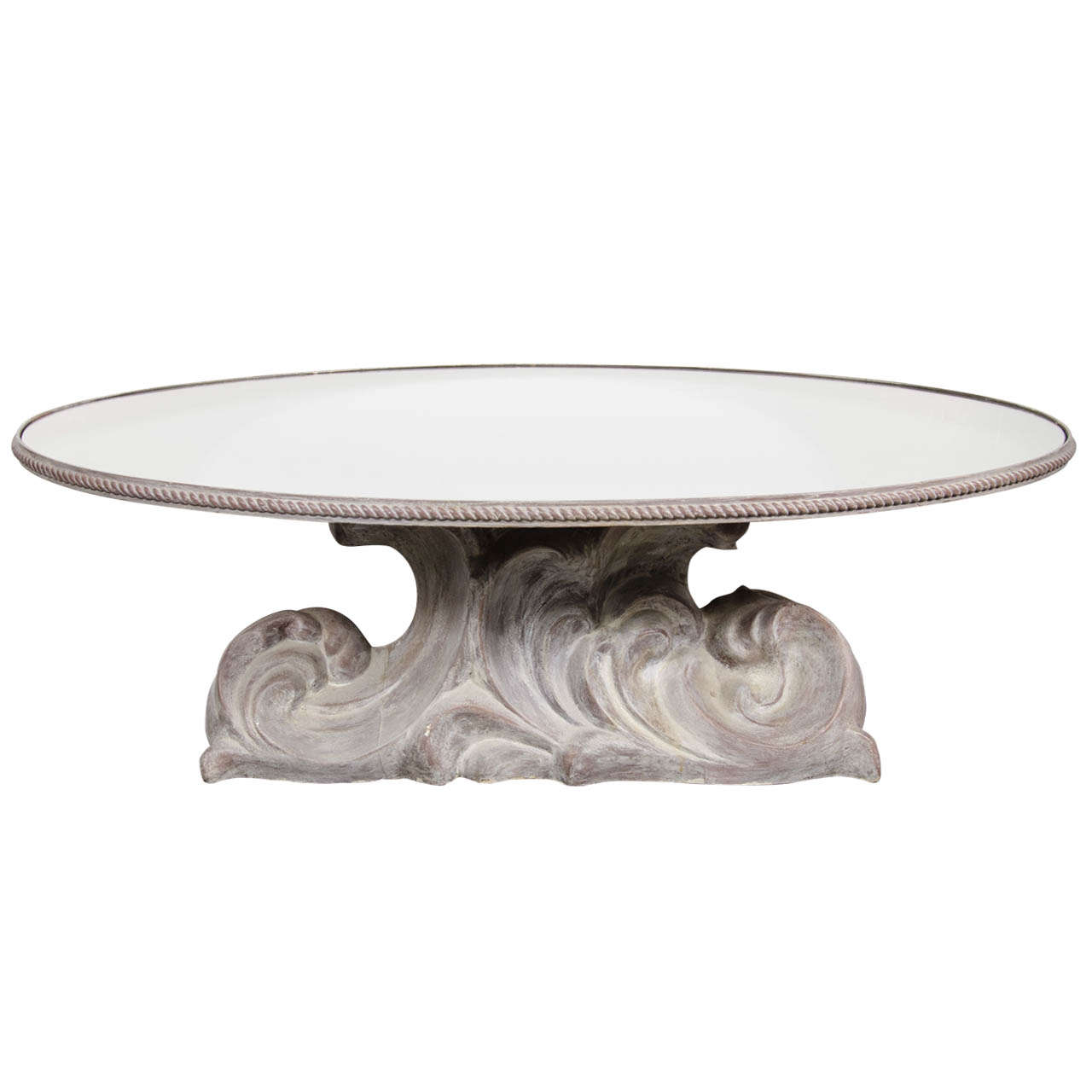 Elegant Oval Resin Cast Cocktail Table in The Manner of Serge Roche