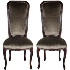 Elegant Pair of 1940's High Back Occasional Chairs in Ebonized Walnut