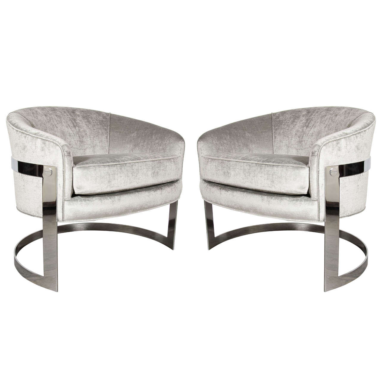 Mid Century Modern Pair Of Modernist Semi Circular Chrome Banded Occasional  Chairs By Milo