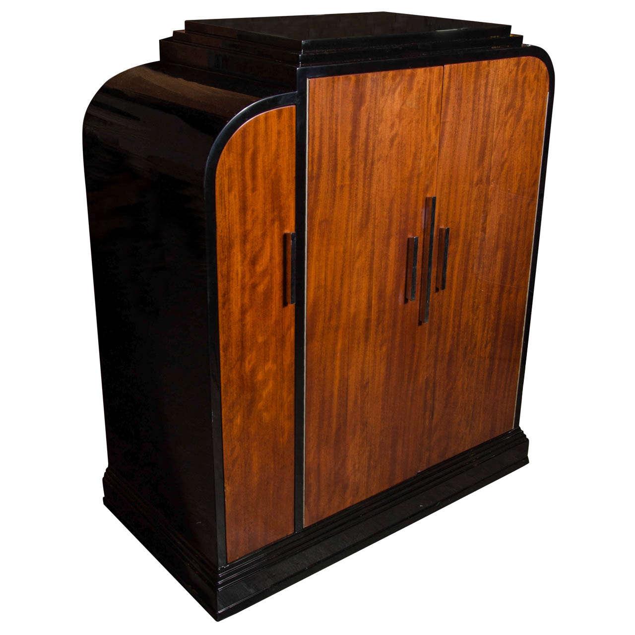 Streamline Art Deco Skyscraper Style Bar Cabinet In The