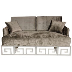 Mid-Century Floating Loveseat or Daybed with Lucite Greek Key Platform Base